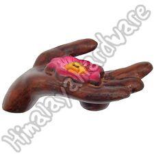 Ceramic Incense Burner: Hand Holder with Lotus Flower: Tibet Tibetan Nepal stick