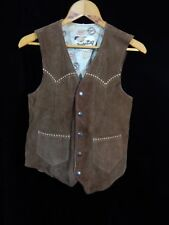 Vintage(?) Joo Kay Natural Leather Brown Leather Button Down Vest Size 36