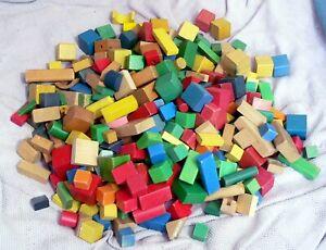 HUGE 8.75Kg Job Lot Vintage Toy Wooden Assorted Building Blocks 350 Blocks