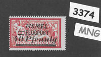 #3374  PF40 Flugpost  MNG stamp ScC20 1922 Memel Lithuania Prussia Germany WWI