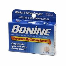 2 Pack - Bonine Motion Sickness Prevention Raspberry Chewable Tablets 8 Each