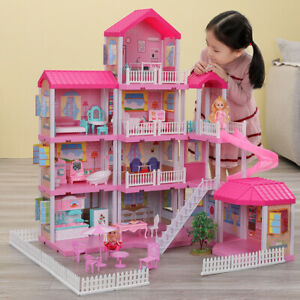 Kids Girls Diy Doll House Play Pretend Dollhouse Set Educational Christmas Gift