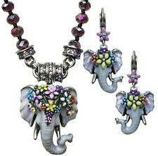 KIRKS FOLLY ELEPHANT WALK 3 PIECE MAGNETIC NECKLACE & EARRINGS SET silvertone