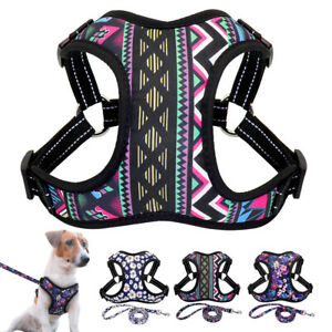 Floral Dog Harness with Leash set Reflective Step in Escape Proof Dog Vest XS-L