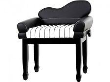 Design Klavierbank mit Lehne schwarz poliert höhenverstellbar