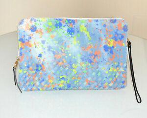 POCHETTE sac à main bleu jeans blanc femme cuir écologique multicolore G99