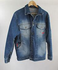"Distressed WearFirst Blue Jean Jacket Denim Trucker Field Coat Large 45"" Chest"