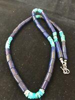 "Pueblo Sterling Silver Navajo Lapis Turquoise Mens 23"" Necklace *129"