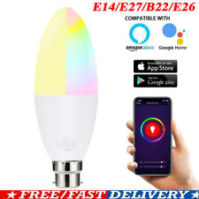 6W Wifi Smart LED Light Bulbs E14/E27/B22/E26 Remote Control Alexa Google Home W
