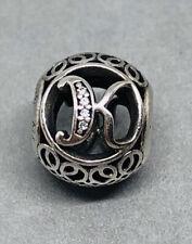 Genuine Pandora, Alphabet Letter, Initial Vintage K, Bracelet Charm 791855CZ