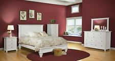 Amish 5-Pc White Bedroom Set Traditional Solid Wood Low Foot Board Queen King