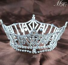 Women Tiara Wedding Round Crown Clear Crystal Bridal Pageant Prom Party Costumes
