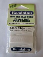 Beadalon Silk Size #4 Color White 2 Meter Cards with Needle