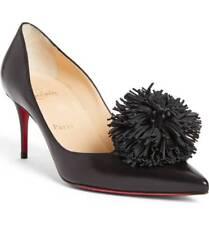 761fce36e03f Christian Louboutin Konstantina PUMPS Pointy Toe Shoes 36 Black Leather Mid  Heel
