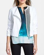 Elie Tahari Designer Womens DELLA Mesh Inset Jacket Blazer NWT White Sz XL $448