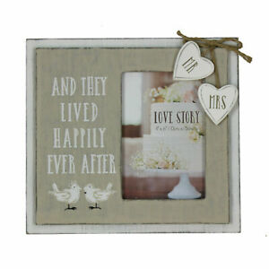 "Mr & Mrs Love Story Wooden Photo Frame 'Happily Ever After' 4"" x 6"" Wedding Gift"
