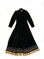 Double D Ranch Wear Velvet Duster Coat Button Down Maxi Dress Embroidered Sz S