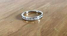 18ct White Gold Baguette And Round Diamond Half Eternity Ring. Size N.5