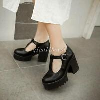 NEW Sweet Mary Janes Womens Platform Block High Heels Oxfords T-Strap Goth Shoes