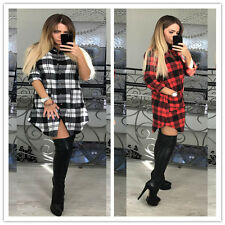 Womens Check Blouse Shirt Mini Dress Ladies Long Sleeve Plaid Romper Dress Tops