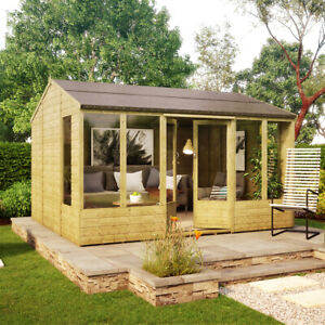 12 x 10 Hobbyist Summerhouse with Long Windows - Tongue and Groove Garden Shed