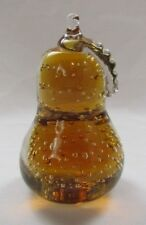 AMBER GLASS PAPERWEIGHT PEAR WITH CRYSTAL LEAF MANY BUBBLE SIGNED ROBERT HARMON