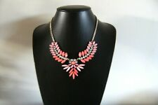 FABULOUS -  STATEMENT - GOLD TONE PINK/CLEAR RHINESTONE CHAIN NECKLACE - VGC