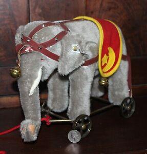 "Steiff Elephant from Elephant Circus Wagon 9"". LED. wear on harness"