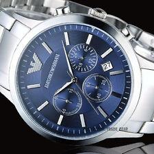 Emporio Armαni AR2448 Men's Luxury Watch Silver Steel Blue Dial 5 Year Warranty