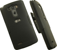 BLACK RUBBERIZED HARD CASE COVER + BELT CLIP HOLSTER STAND FOR LG G3 PHONE