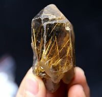 102.3g  NATURAL Clear Golden RUTILATED Crystal Point Point Mineral Specimen