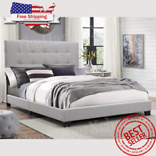 King Size Platform Bed Wood Frame Tufted Cushion Headboard Queen Full Twin Gray