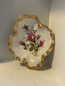 Beautiful Gold & Rose Trinket Bowl Dish