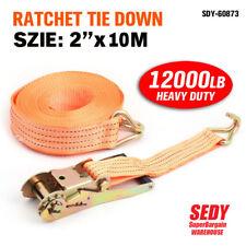 Heavy Duty 50 MM x 10M Ratchet Strap Set Tie Down Trucks Cargo Retractable Cord