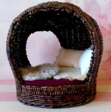 1/6 scale dollhouse furniture, wicker cocoon chair. Modern miniature garden doll