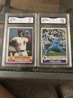 Steve Carlton 1976 Topps 355, 1979 Topps 25 Near Mint + GMA 7.5. Comp. PSA BGS
