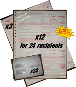 2020 IRS TAX FORMS KIT:: 1099-MISC Carbonless 24recipients +24envelopes +(3)1096
