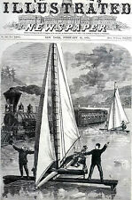 Ice-Boats Hudson River ZEPHYR ICICLE vs. Chicago Express Train 1871 Print Matted