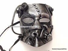 Steampunk Style Silver Bauta Robot Masquerade Mask Custom Prom Party Mardi Gras
