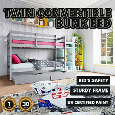 Bunk Bed Twin Convertible 2 in 1 Timber Frame Loft Kids Bedroom Rail Furniture