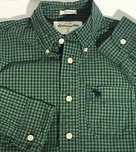 Abercrombie Kids Boys Cotton Plaid Long Sleeve Shirt Large Green Blue Muscle Fit
