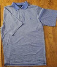 Ralph Lauren Mens S/S Blue Label Polo Golf - Blue/White Stripe- Medium