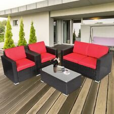4 PCS Patio Furniture Couch Wicker Rattan /w Cushions Sectional Sofa Table Set
