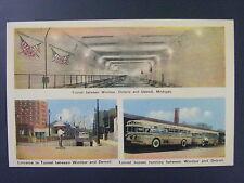 Windsor Canada Detroit Michigan Tunnel Buses Vintage Postcard 1930s-40s