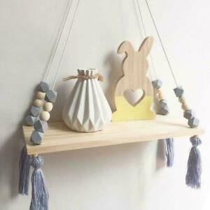 Wooden Nordic Style Hanging Tassel Bead Storage Wall Kids Bedroom Shelf N1M1