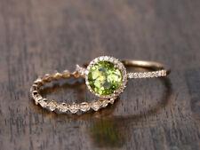14k Yellow Gold Finish Round Cut Peridot & Diamond Bridal Wedding Ring Set
