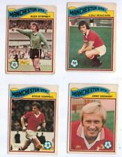4 1978 Topps Orange Back Footballers cards, all Manchester United players