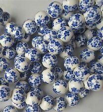 20 x Hand Printed Round Dark Blue Porcelain Ceramic Beads 12mm Flower Style P25