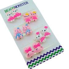 5 Cute Rabbit Set, Clip On Earrings Gift for Teen Girls Kids Princess Daughter