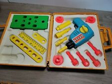 1977 Fisher Price Tool Kit Vintage Kids Play Set Tool Box Wind Up Drill Not comp